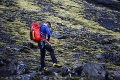 Men Hiking glacier Hvannadalshnukur summit in Iceland mountain volcano landscape Vatnajokull park Royalty Free Stock Photos