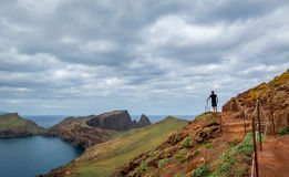Men hiking at the mountains of Madeira Stock Photos