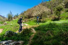 Men hiking on a sunny day, outdoors healthy lifestyle stock photo