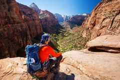 Men is hiking in Zion National Par, Utah, USA Stock Photos