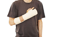 Men with his broken right arm Stock Images