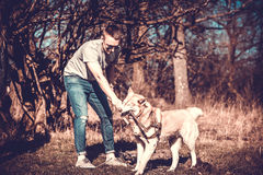 Men and his husky dog playing in the park Royalty Free Stock Images