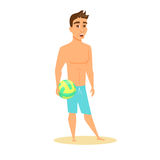 Men hold beach ball. Men in shorts hold beach volleyball ball. Happy guy on beach in swimsuit. Cartoon summer male character with isolated on white Stock Photo