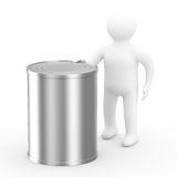 Men hold can on white background Stock Image