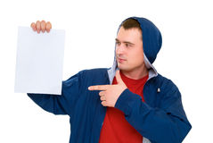 men hold white paper Royalty Free Stock Image