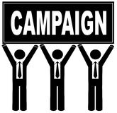 Men holding campaign sign. Group of men holding sign up that says campaign Royalty Free Stock Photography