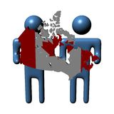 Men holding Canadian map flag Stock Photo