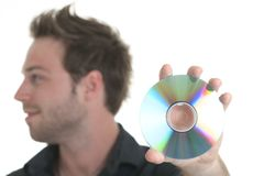 Men holding a cd or a dvd Stock Images