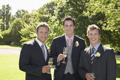 Men Holding Champagne Flutes At Wedding Stock Photo