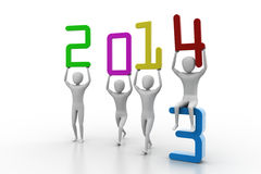 Men holding 2014. Concept 3D illustration Stock Image