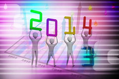 Men holding 2014. Concept 3D illustration. Men holding 2014. Concept 3D illustration in colour background Royalty Free Stock Image