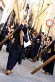 Men holding crucifix, Easter procession in Jerez Stock Image