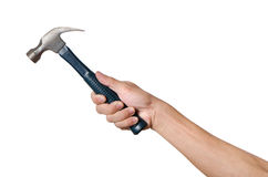Men is holding a hammer isolated on white background. Activity, adult, background, break, caucasian, closeup, concept, equipment, hammer, hand, handle, heavy Royalty Free Stock Image