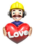 The men holding hearts. Work and Job Character Design Series Stock Photos