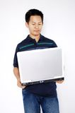 Men holding a laptop Royalty Free Stock Photography