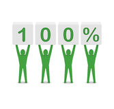 Men holding 100 percent. Concept 3D illustration Royalty Free Stock Photo