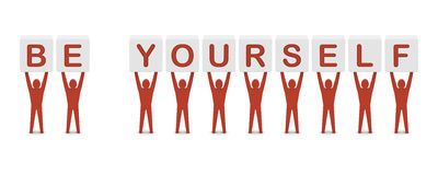 Men holding the phrase BE YOURSELF. Concept 3D illustration stock illustration