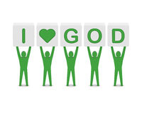 Men holding the phrase i love god. Stock Image