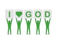 Men holding the phrase i love god. Concept 3D illustration Stock Image