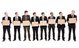 Men holding signs Royalty Free Stock Image