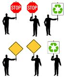 Men Holding Signs. An illustration featuring an assortment of men holding various signs including stop, recycle, and blank yellow yield signs Royalty Free Stock Images