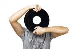 Men holding vinyl Stock Images