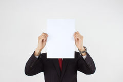 Men holding white paper Stock Photos