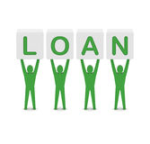 Men holding the word loan. Concept 3D illustration Royalty Free Stock Photo