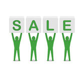 Men holding the word sale. Stock Photo