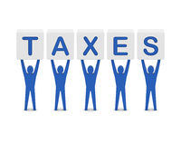 Men holding the word taxes. Royalty Free Stock Photos