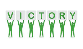 Men holding the word victory. Royalty Free Stock Photos