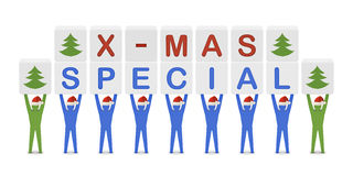Men holding the words X-mas Special. Concept 3D illustration Stock Images
