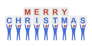Men holding the words Merry Christmas. Concept 3D illustration Stock Photos