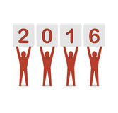 Men holding the 2016 year. Royalty Free Stock Image