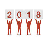 Men holding the 2018 year. Royalty Free Stock Photo
