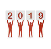 Men holding the 2019 year. Stock Images