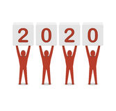 Men holding the 2020 year. Concept 3D illustration Royalty Free Stock Photography