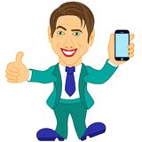 Men holds a smartphone Stock Image