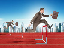 Men hopping over treadmill barrier with city Stock Photo
