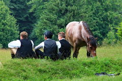 Men and the horse Royalty Free Stock Image