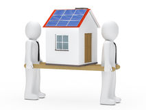 Men house on ladder. Men hold house with solar on ladder Royalty Free Stock Photography