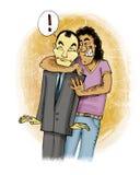 Men hug. Humor illustration of italian guy huging japanese man Royalty Free Stock Image