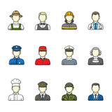 Men icons. Set of different male professions. Color outlined icon collection. Men icons. Set of different male professions. Vector illustration. Color outlined Stock Photos