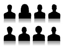 Men id silhouette portraits set 2 Royalty Free Stock Photography
