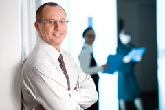 Men In Glasses With Tie And With Smile Stock Photography
