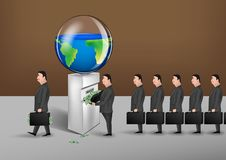 Free Men In Suits With Suitcases Converts Planet Resources Into Money Conceptual Vector Illustration, Horizontal Stock Photos - 155123633