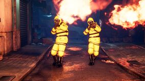 Free Men In Yellow Protective Suits Disinfect The City`s Infected Territory With A Flamethrower. People In Bacteriological Royalty Free Stock Photos - 184125408