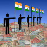Men with Indian flags on Rupees Stock Photography