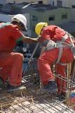 Men Install Rebar - Vertical Royalty Free Stock Photo