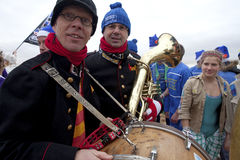Men with Instruments on beach, Belgium Stock Photos